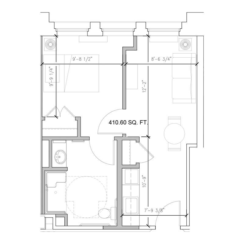 Amazing Grace Senior Living Floor Plan 1 Bedroom B